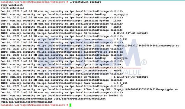 Restart SAP HANA Web Client Service