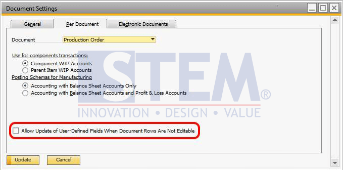 SAP Business One Tips - Update the Production Order After Closed or Canceled