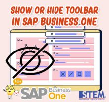 SAP Business One Tips Show or Hide Toolbar