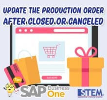 SAP Business One Tips Update Production Order