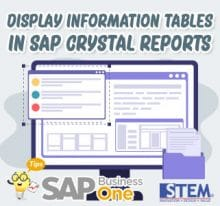 SAP Business One Tips Display Information Tables in SAP Crystal Reports