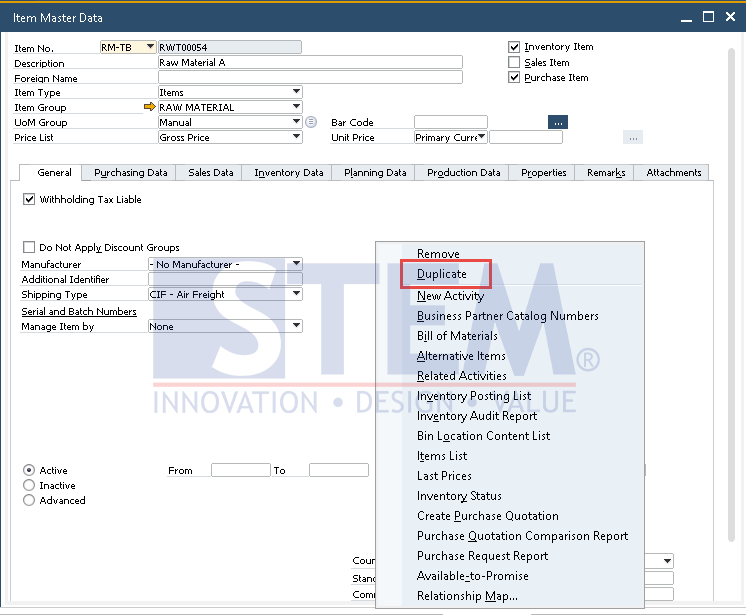 SAP Business One Tips - Duplicate Item Master Data in SAP Business One