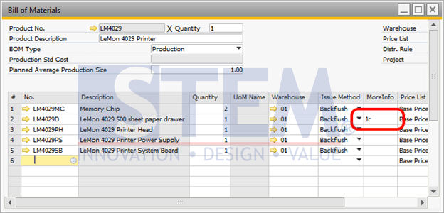 SAP Business One Tips - Additional Information on Bill of Materials Component