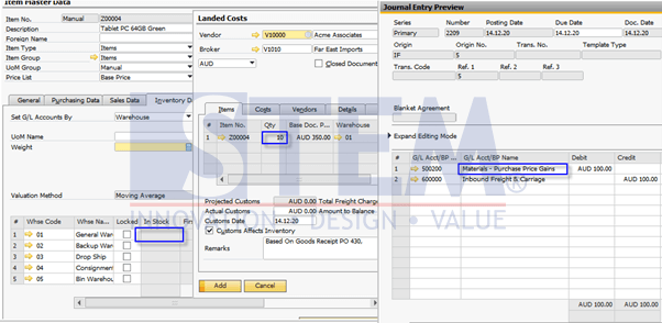 SAP Business One Tips - Landed Cost Quantity Different with In Stock Quantity