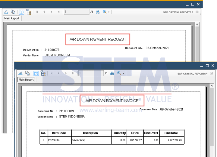 SAP Business One Tips - Using One Crystal Report Layout for A/R DP Request And A/R DP Invoice